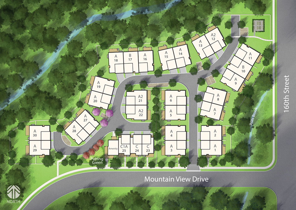 Hearthstone in the park townhomes in south surrey for Luxury townhome plans