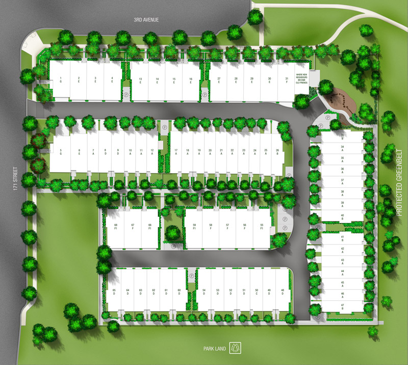 The Crossing townhomes by gramercy site plan south surrey